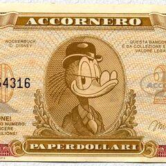 Fronte della banconota da 20$ di Accornero.
