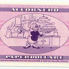 Retro della banconota da 500$ di Accornero.