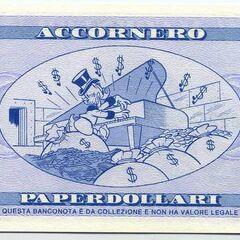 Retro della banconota da 1000$ di Accornero.