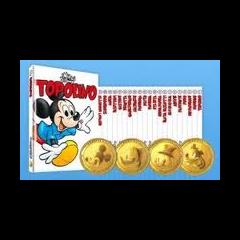 Le prime quattro monete della collana, con Topolino, Paperino, Paperone e Pippo.