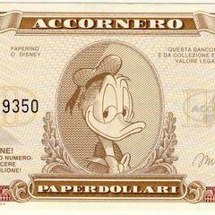 Fronte della banconota da 10$ di Accornero.