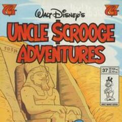 Copertina della testata americana <i>Uncle Scrooge Adventures</i> 37 su cui fu ristampata la storia <a href=