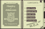 Rulebook contents