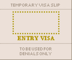 Temporary visa slip 1160