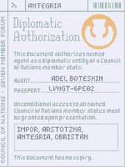 Diplomatic authorization 1160