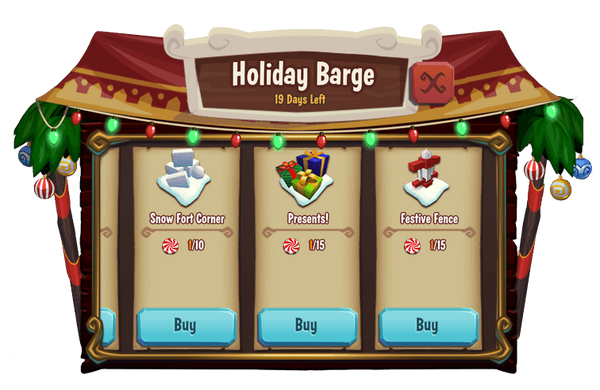 Holiday barge menu