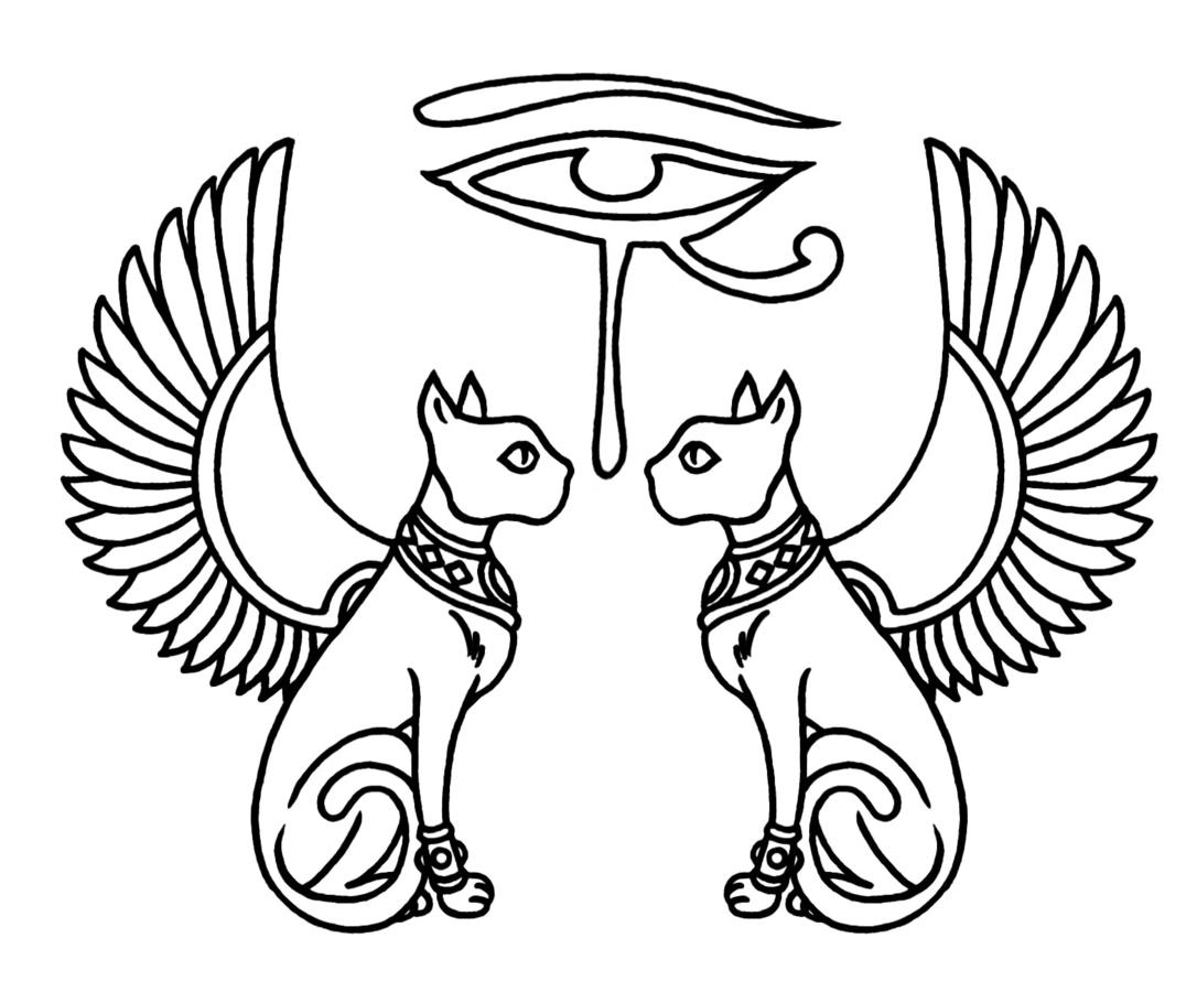 Image Egyptian Eye Of Horus With Cats And Wings Tattoo O P