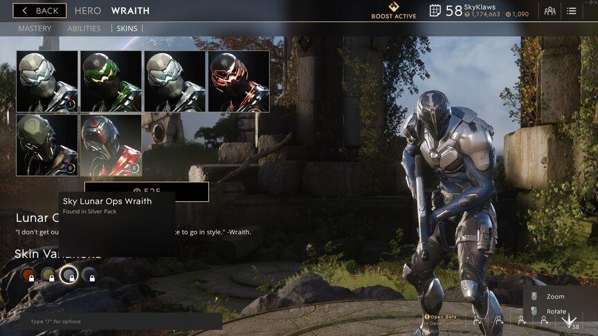 Wraith Sky Lunar OPS skin
