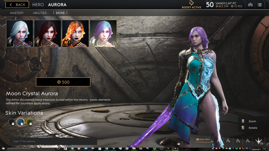 Aurora Blue Moon Crystal skin