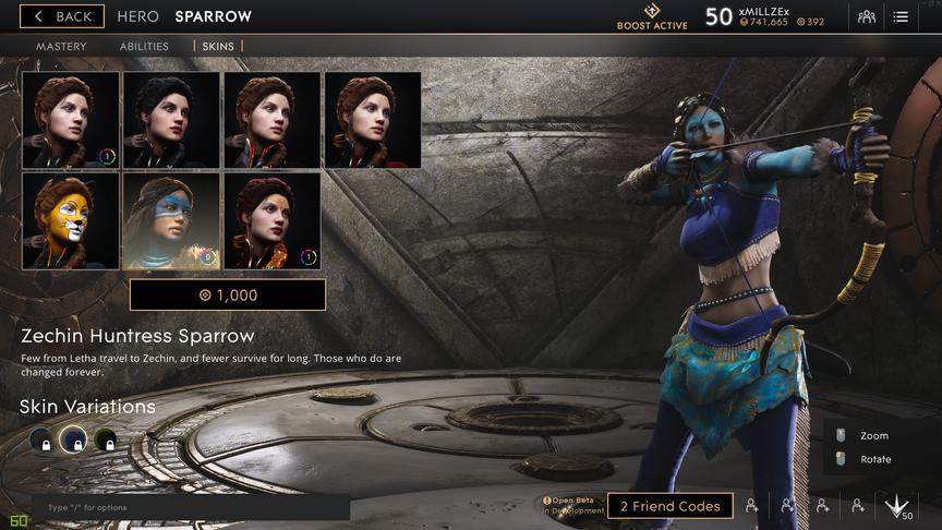 Sparrow Cobalt Zechin Huntress skin