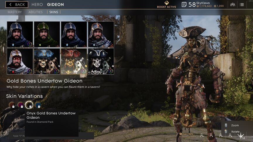 Gideon Onyx Gold Bones Undertow skin