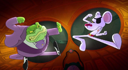 Danger Mouse fighting off with Baron Greenback