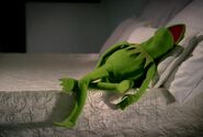 Kermit falls asleep while singing a lullaby in a Target commercial