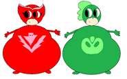 Owlette and Gekko Bloated