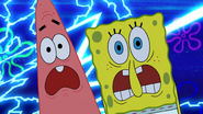 Spongebob and patrick screaming at fisherman 1