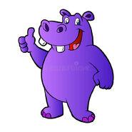 Purple-hippopotamus purple rhinoceros-cartoon-vector-illustration-72068604