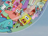 Spongebob and everybody screaming at texas
