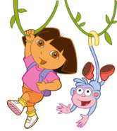 Dora and Boots Swinging On Vines