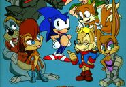 Sonic, Tails, Sally, Bunnie, Antoine, and Rotor