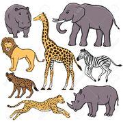 Hippopotamus Lion Hyena Cheetah Giraffe Zebra Elephant Rhinoceros Leopard Gorilla Okapi Chimpanzee Bonobo