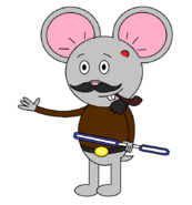 Mr Einstein Hamster (pipe) (with a saber staff activating)