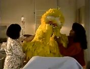 Big Bird starts to cry in the hospital when he gets a needle