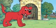 Clifford the Big Red Dog at his doghouse