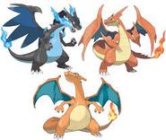 Charizard, Mega Charizard X and Mega Charizard Y