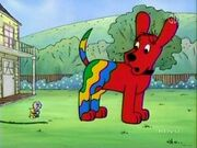 Clifford the Big Red Dog with paint on him