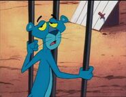 Depressed pink panther painted in blue
