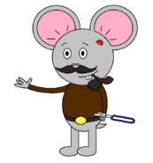 Mr Einstein Hamster (pipe) (with a saber staff activating) with one blue blade shown.