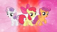 Apple Bloom, Sweetie Bell, and Scootaloo (aka The Cutie Mark Crusaders)