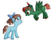 Peter Pan and Wendy Darling as ponies