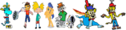 Thomas as Rayman, Spike as Barry B. Benson, Arnold and Flash Sentry as Jak and Daxter, Tom and Bobert as Ratchet and Clank, Ten Cents as Spyro, and Theodore Tugboat as Crash Bandicoot.