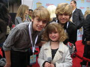 Dylan and Cole Sprouse with Piper