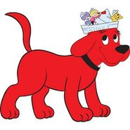 Clifford the Big Red Dog with Emily, Cleo and T-Bone on his head