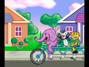 Elephant and Penguin Riding Bicycle