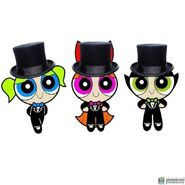 The Powerpuff Girls in tuxedos and top hats