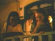Marcella and Abby laugh at Cody after he falls off the porch and into the flowers-Barney's Great Adventure
