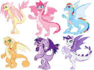The Mane Six as Dragons