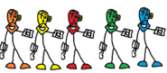 Den, Dart, Norman, Paxton, and Sidney as The Robot Pirates.
