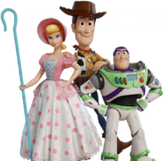 Woody Buzz Bo Peep Toy Story Drop render