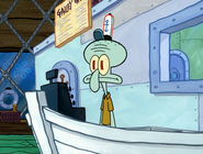 Squidward hearing krabs yells