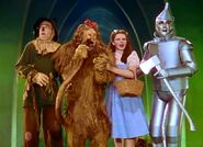 The Cowardly Lion crying again because he's too scared to see the Wizard of Oz
