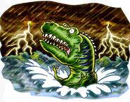 Drowning Prehistoric Dinosaur
