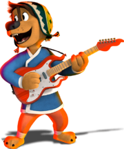 Bodi rock dog playing guitar 2
