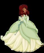 Starfire dressed as Tiana