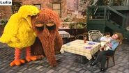 Big Bird and Snuffy fall asleep in front of Gina and Marco