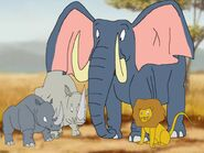Two rhinoceros, an elephant and a lion sensed Riley and his friends arrived at The Forest of Life