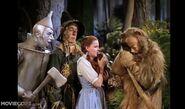 The Cowardly Lion sobbing after Dorothy slaps him